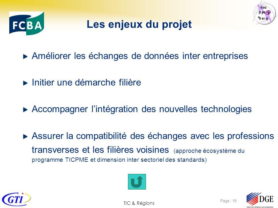 TIC & Régions Page : 19 Les enjeux du projet Améliorer les échanges de données inter entreprises Initier une démarche filière Accompagner lintégration