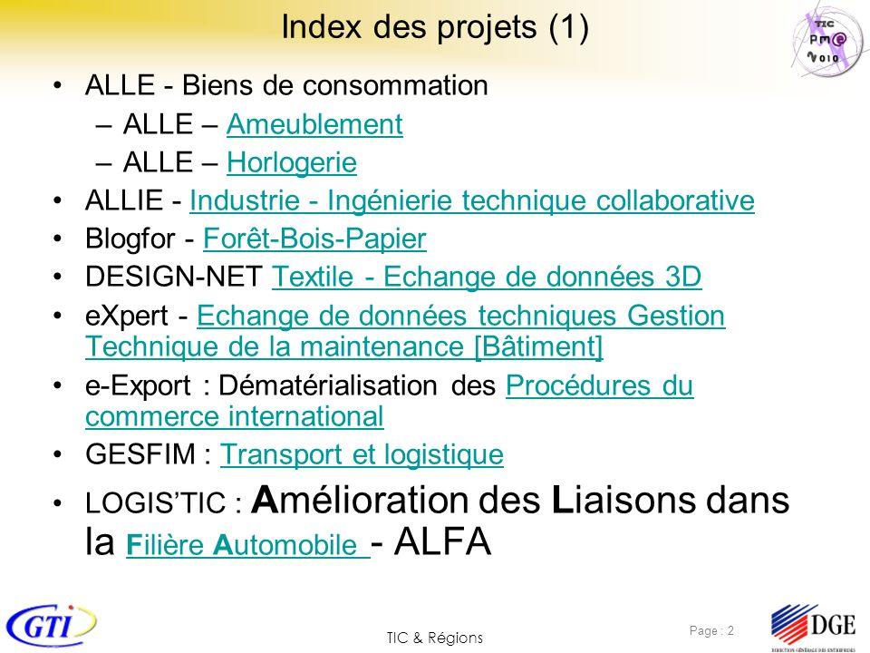 TIC & Régions Page : 2 Index des projets (1) ALLE - Biens de consommation –ALLE – AmeublementAmeublement –ALLE – HorlogerieHorlogerie ALLIE - Industri