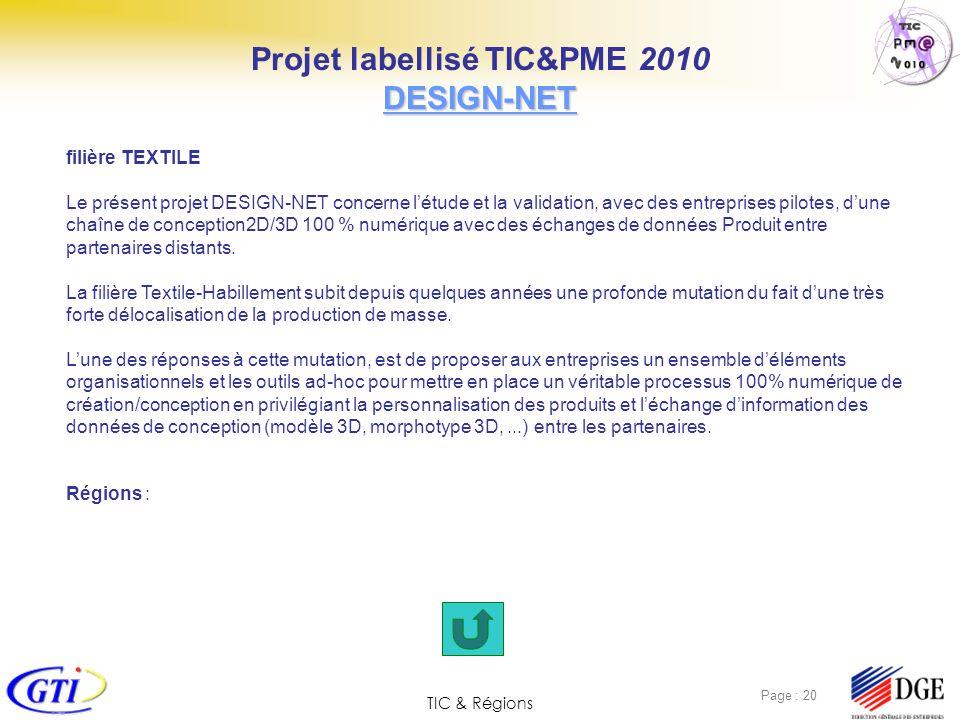 TIC & Régions Page : 20 filière TEXTILE Le présent projet DESIGN-NET concerne létude et la validation, avec des entreprises pilotes, dune chaîne de co