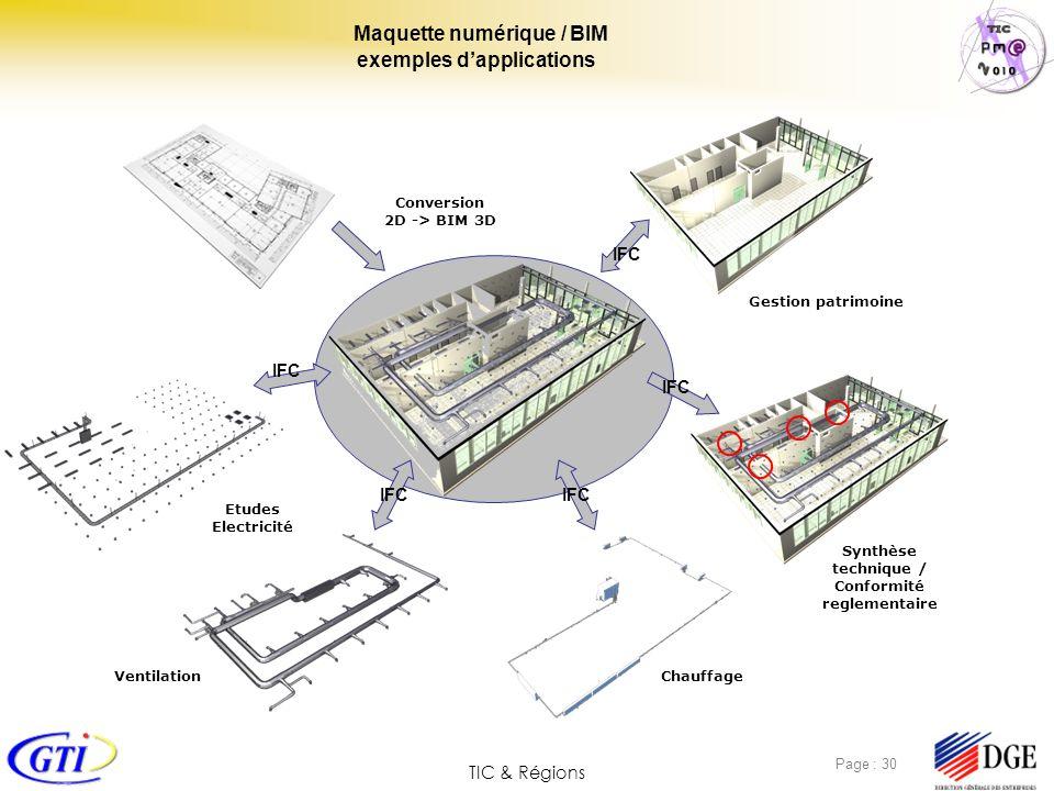 TIC & Régions Page : 30 Maquette numérique / BIM exemples dapplications Conversion 2D -> BIM 3D Gestion patrimoine Etudes Electricité ChauffageVentila