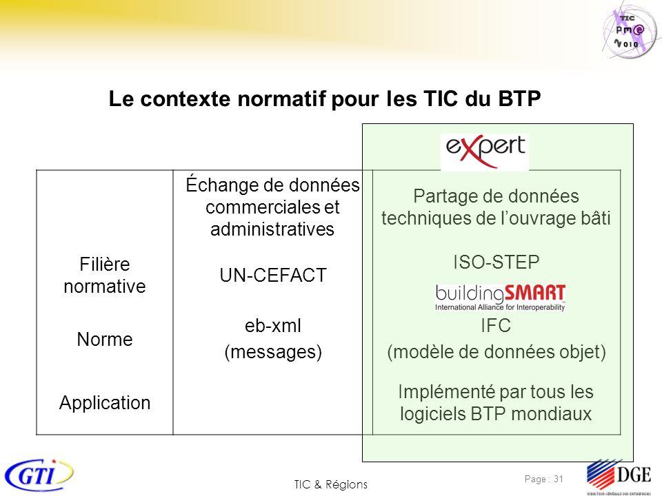 TIC & Régions Page : 31 Le contexte normatif pour les TIC du BTP Échange de données commerciales et administratives Partage de données techniques de l