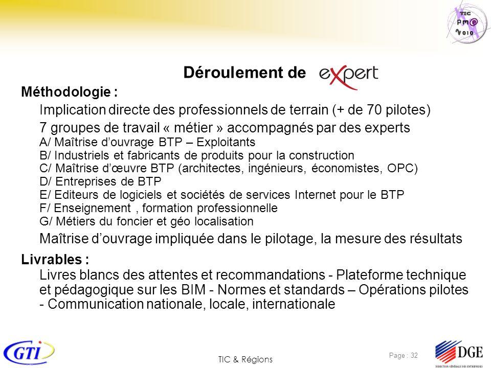 TIC & Régions Page : 32 Déroulement de Méthodologie : Implication directe des professionnels de terrain (+ de 70 pilotes) 7 groupes de travail « métie