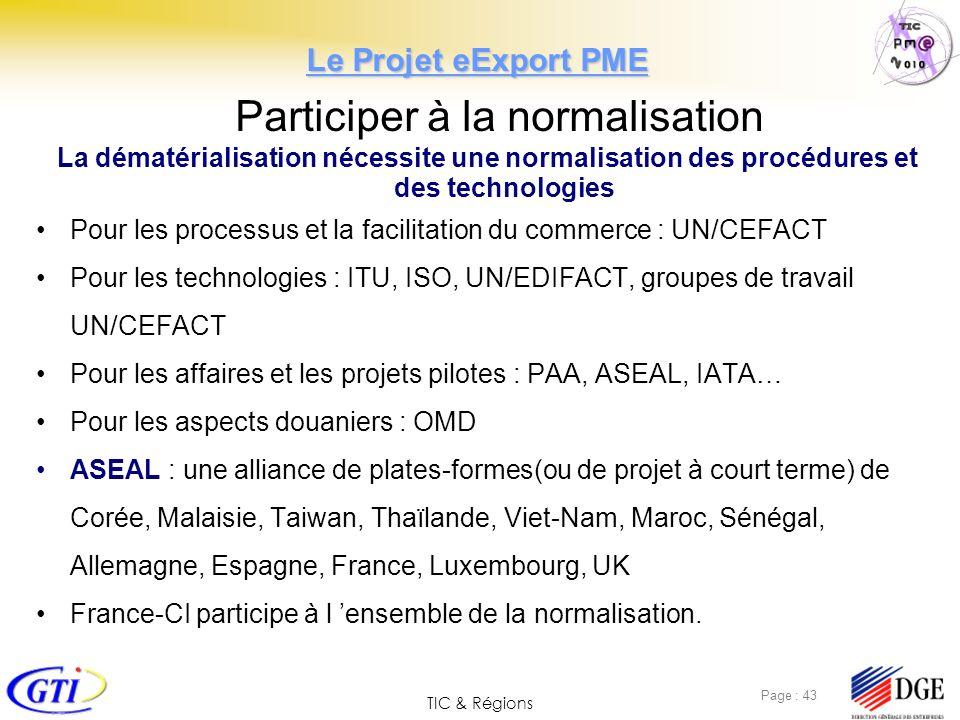TIC & Régions Page : 43 Participer à la normalisation La dématérialisation nécessite une normalisation des procédures et des technologies Pour les pro