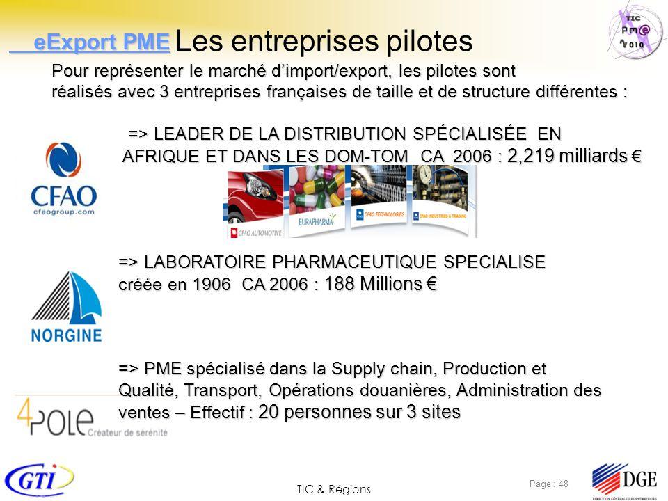 TIC & Régions Page : 48 Les entreprises pilotes Pour représenter le marché dimport/export, les pilotes sont réalisés avec 3 entreprises françaises de