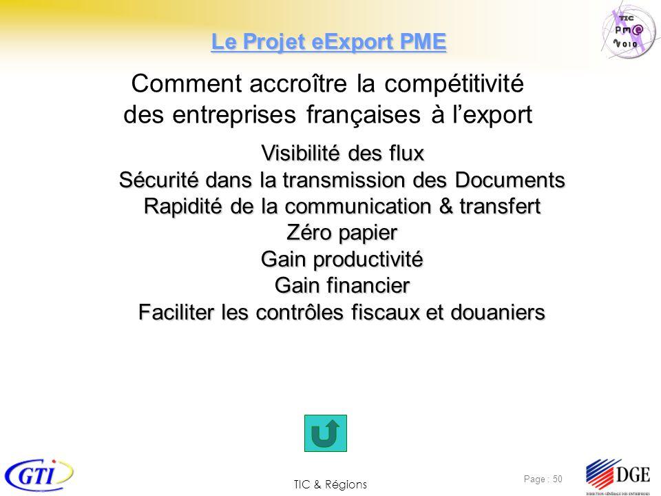 TIC & Régions Page : 50 Comment accroître la compétitivité des entreprises françaises à lexport Visibilité des flux Sécurité dans la transmission des