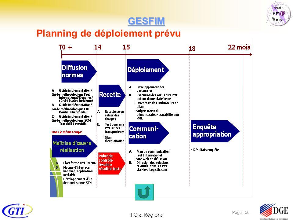 TIC & Régions Page : 56 Planning de déploiement prévu GESFIM