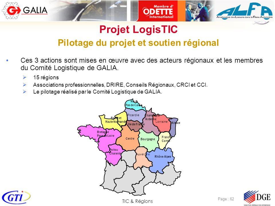 TIC & Régions Page : 62 Ces 3 actions sont mises en œuvre avec des acteurs régionaux et les membres du Comité Logistique de GALIA. 15 régions Associat