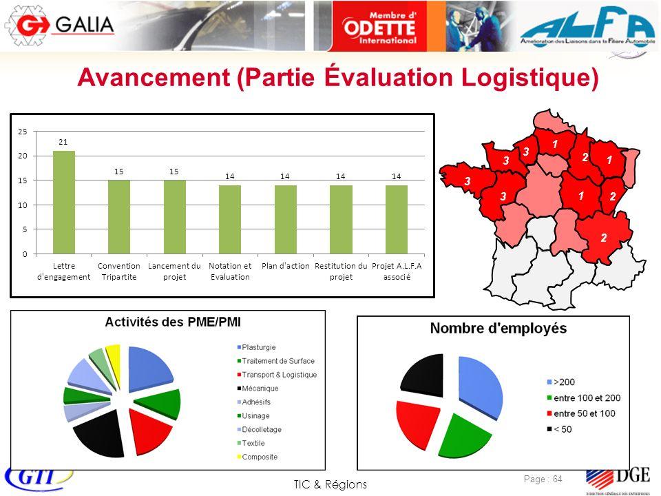 TIC & Régions Page : 64 Avancement (Partie Évaluation Logistique) 1 2 3 3 3 3 1 1 2 2