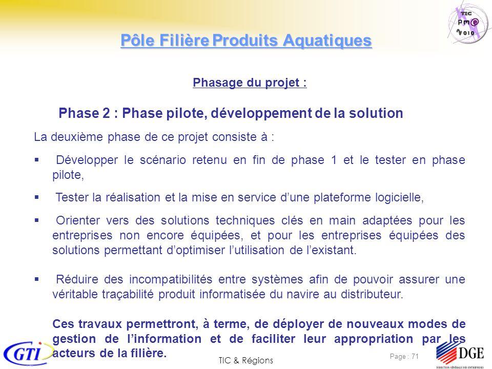 TIC & Régions Page : 71 Phasage du projet : Phase 2 : Phase pilote, développement de la solution La deuxième phase de ce projet consiste à : Développe