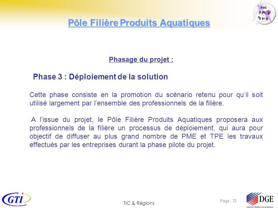 TIC & Régions Page : 72 Phasage du projet : Phase 3 : Déploiement de la solution Cette phase consiste en la promotion du scénario retenu pour quil soi