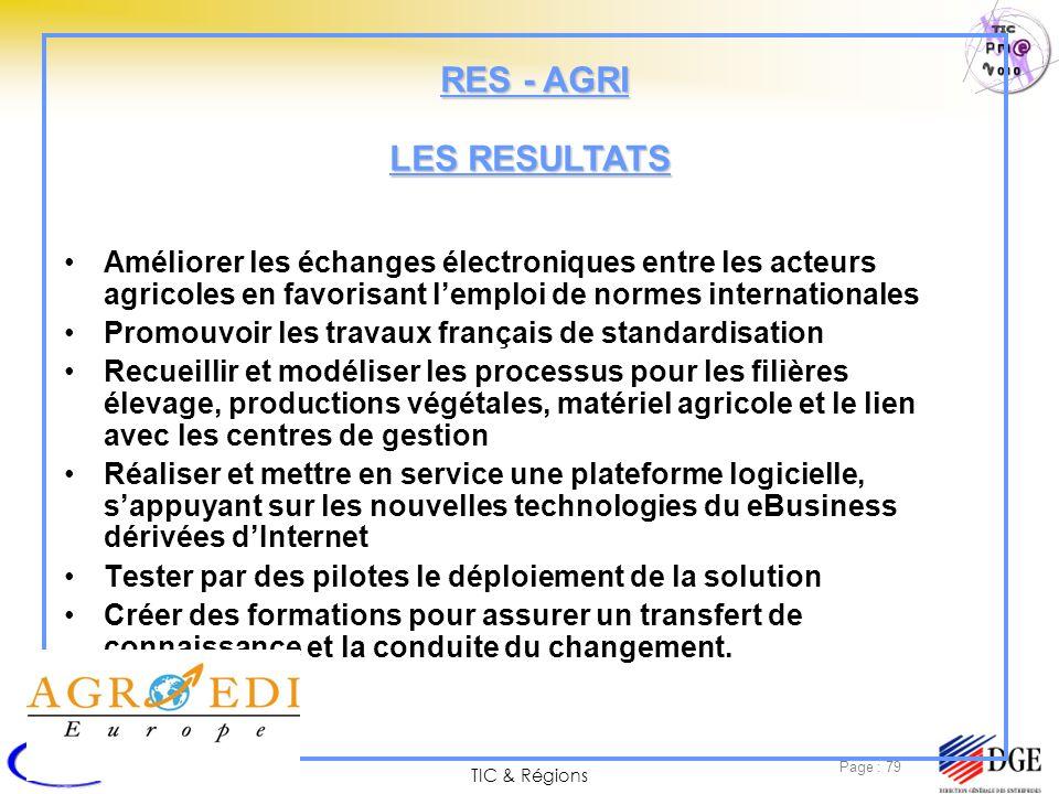 TIC & Régions Page : 79 Améliorer les échanges électroniques entre les acteurs agricoles en favorisant lemploi de normes internationales Promouvoir le