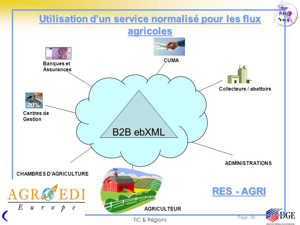 TIC & Régions Page : 80 Utilisation dun service normalisé pour les flux agricoles Internet Banques et Assurances Centres de Gestion AGRICULTEUR CUMA A