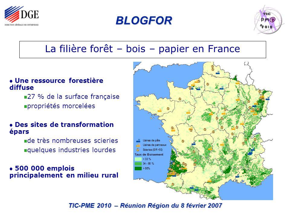 BLOGFOR TIC-PME 2010 – Réunion Région du 8 février 2007 La filière forêt – bois – papier en France Une ressource forestière diffuse 27 % de la surface