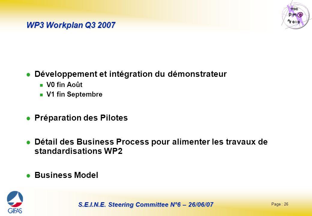 Page : 26 S.E.I.N.E. Steering Committee N°6 – 26/06/07 WP3 Workplan Q3 2007 Développement et intégration du démonstrateur V0 fin Août V1 fin Septembre