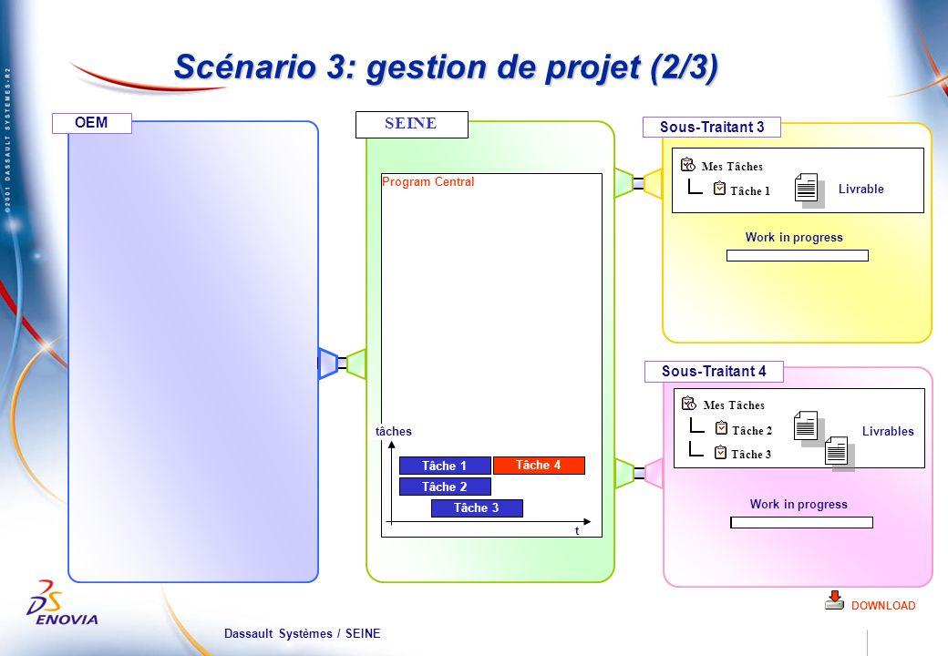 Dassault Systèmes / SEINE OEM Sous-Traitant 3 Program Central Scénario 3: gestion de projet (2/3) DOWNLOAD Sous-Traitant 4 Tâche 1 Mes Tâches Tâche 2