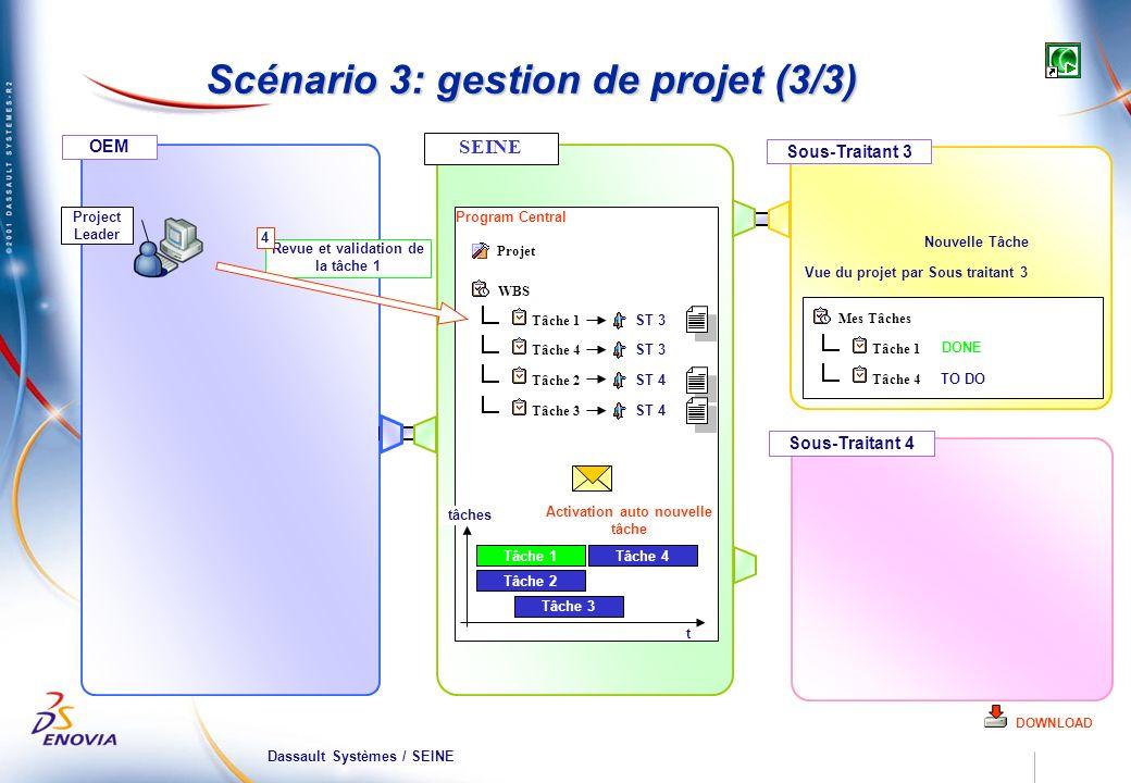 Dassault Systèmes / SEINE OEM Sous-Traitant 3 Program Central Scénario 3: gestion de projet (3/3) DOWNLOAD Sous-Traitant 4 Tâche 1 Tâche 2 Tâche 3 Tâc