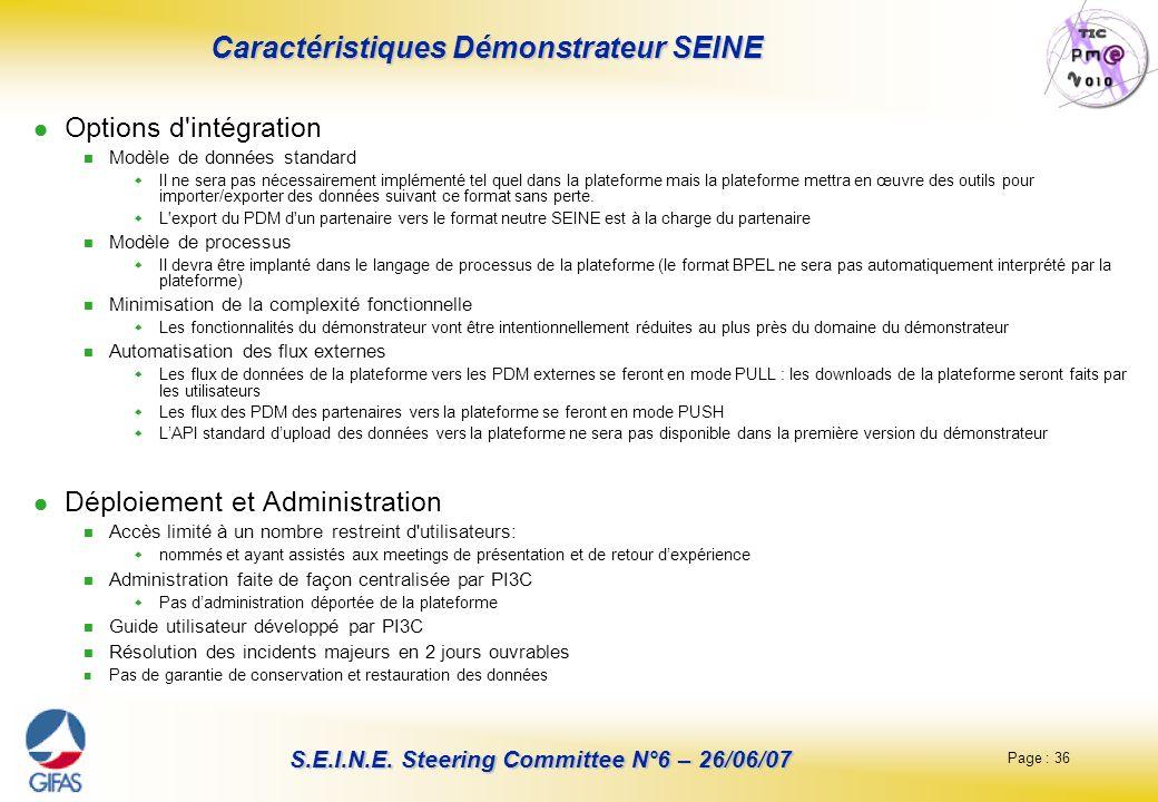 Page : 36 S.E.I.N.E. Steering Committee N°6 – 26/06/07 Caractéristiques Démonstrateur SEINE Options d'intégration Modèle de données standard Il ne ser
