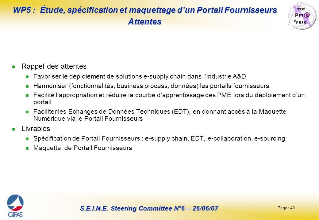 Page : 40 S.E.I.N.E. Steering Committee N°6 – 26/06/07 WP5 : Étude, spécification et maquettage dun Portail Fournisseurs Attentes Rappel des attentes