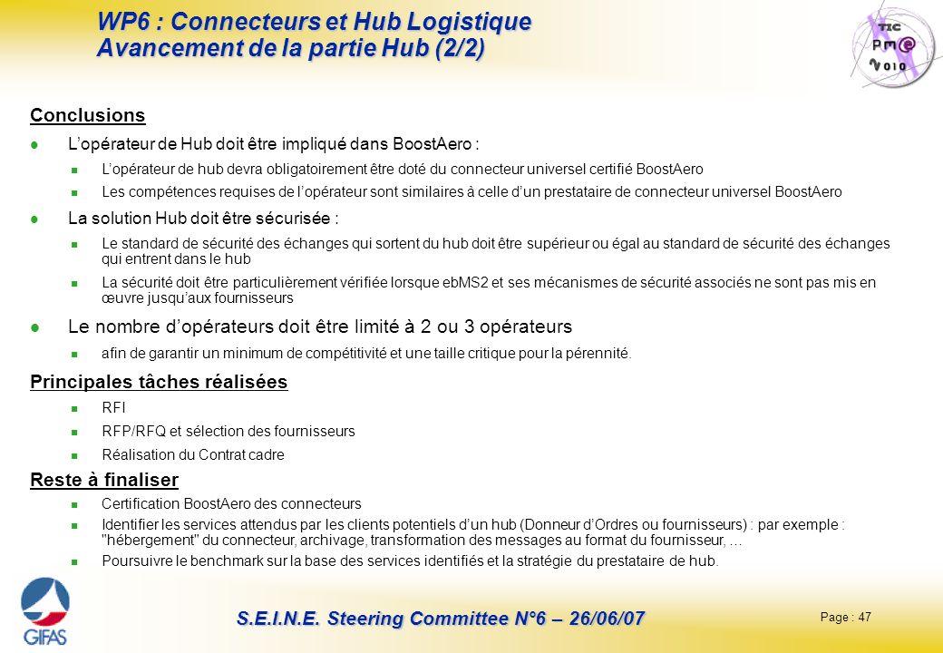 Page : 47 S.E.I.N.E. Steering Committee N°6 – 26/06/07 WP6 : Connecteurs et Hub Logistique Avancement de la partie Hub (2/2) Conclusions Lopérateur de