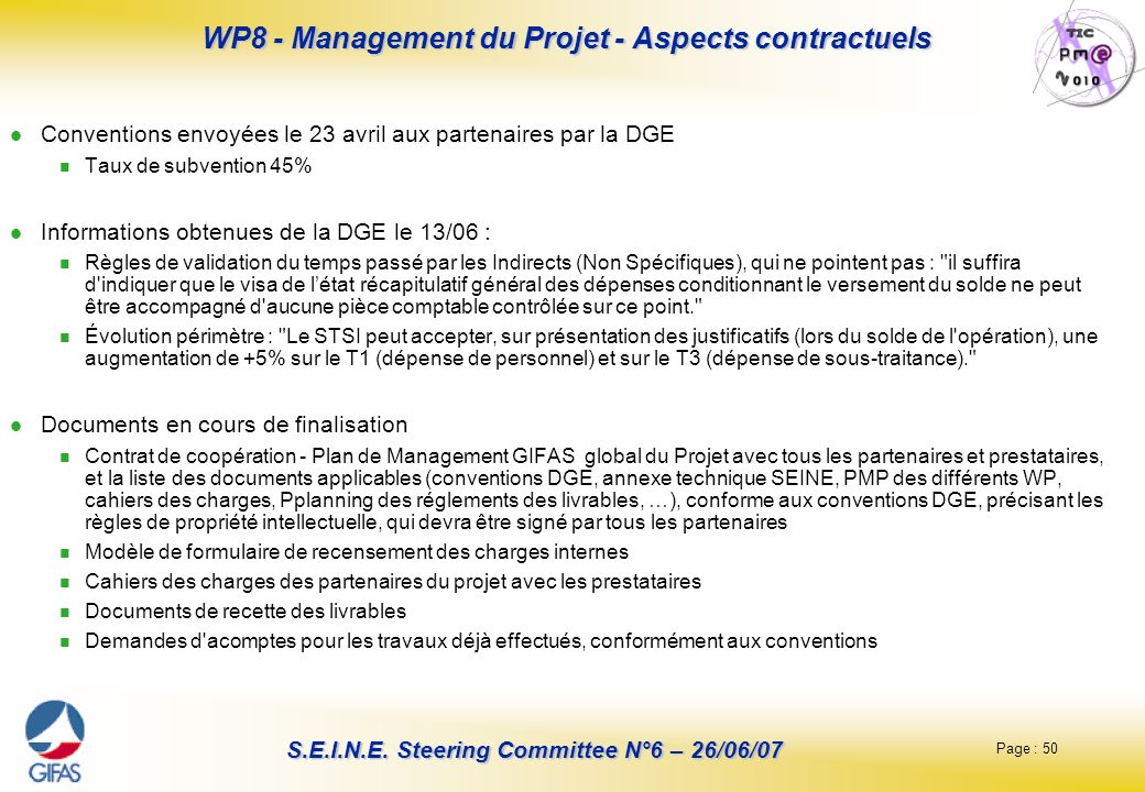 Page : 50 S.E.I.N.E. Steering Committee N°6 – 26/06/07 WP8 - Management du Projet - Aspects contractuels Conventions envoyées le 23 avril aux partenai