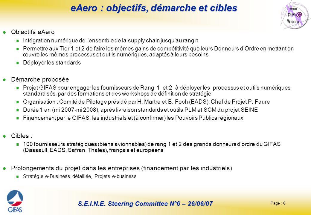 Page : 6 S.E.I.N.E. Steering Committee N°6 – 26/06/07 eAero : objectifs, démarche et cibles Objectifs eAero Intégration numérique de l'ensemble de la