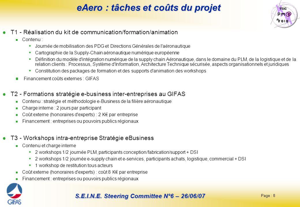 Page : 8 S.E.I.N.E. Steering Committee N°6 – 26/06/07 eAero : tâches et coûts du projet T1 - Réalisation du kit de communication/formation/animation C