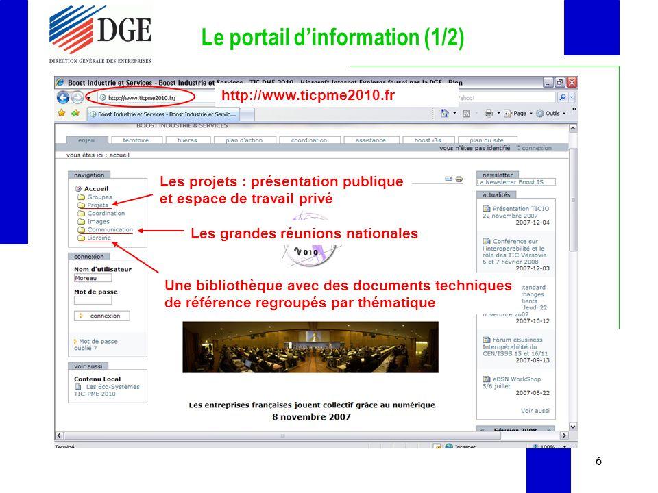 6 Le portail dinformation (1/2) Une bibliothèque avec des documents techniques de référence regroupés par thématique Les grandes réunions nationales Les projets : présentation publique et espace de travail privé http://www.ticpme2010.fr