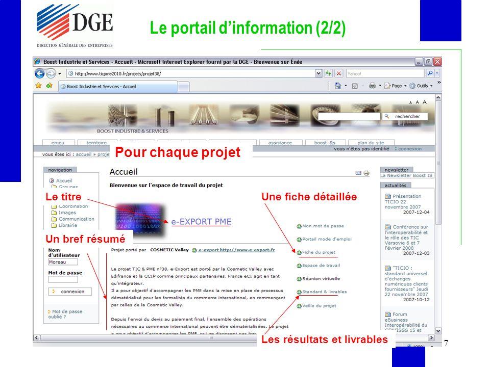 7 Le portail dinformation (2/2) Pour chaque projet Le titre Un bref résumé Une fiche détaillée Les résultats et livrables