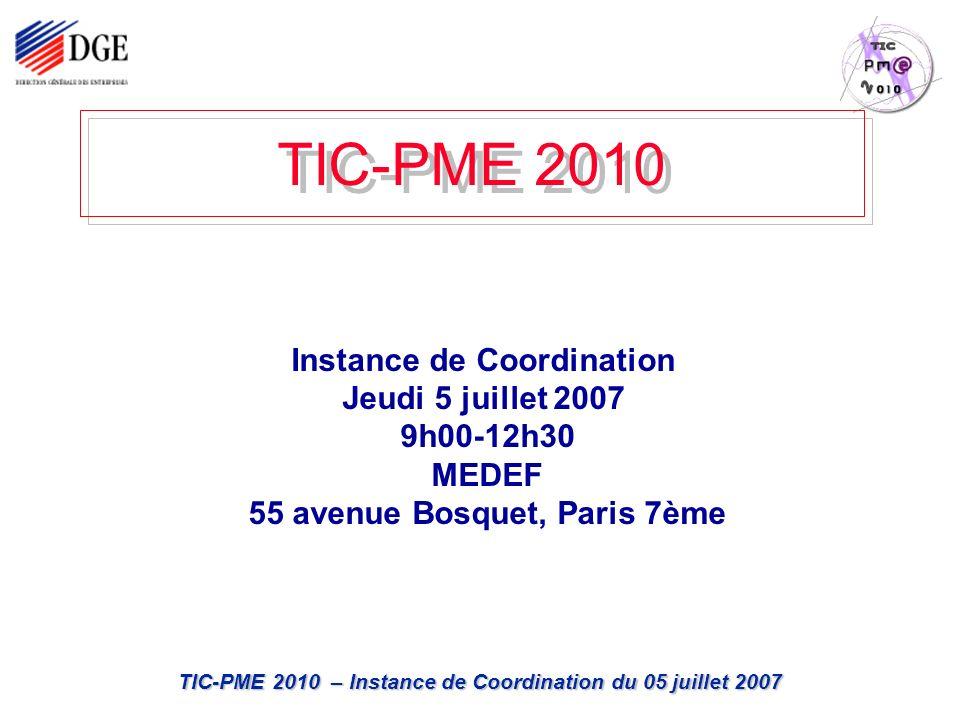 TIC-PME 2010 – Instance de Coordination du 05 juillet 2007 TIC-PME 2010 Instance de Coordination Jeudi 5 juillet 2007 9h00-12h30 MEDEF 55 avenue Bosquet, Paris 7ème