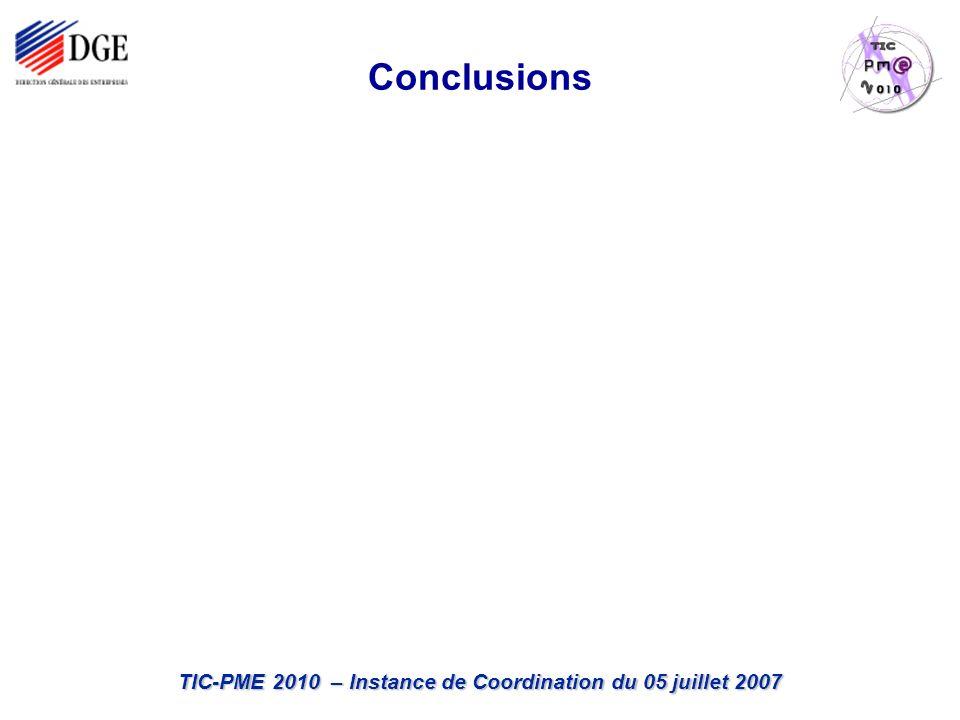 TIC-PME 2010 – Instance de Coordination du 05 juillet 2007 Conclusions