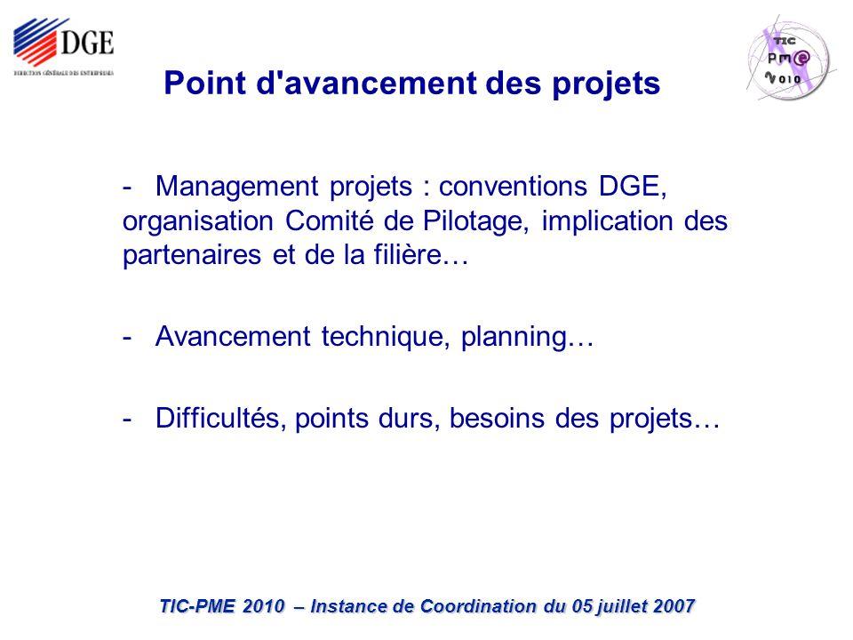 TIC-PME 2010 – Instance de Coordination du 05 juillet 2007 Point d avancement des projets - Management projets : conventions DGE, organisation Comité de Pilotage, implication des partenaires et de la filière… - Avancement technique, planning… - Difficultés, points durs, besoins des projets…