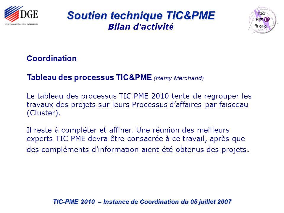 TIC-PME 2010 – Instance de Coordination du 05 juillet 2007 Soutien technique TIC&PME Bilan d activit é Coordination Tableau des processus TIC&PME (Remy Marchand) Le tableau des processus TIC PME 2010 tente de regrouper les travaux des projets sur leurs Processus daffaires par faisceau (Cluster).