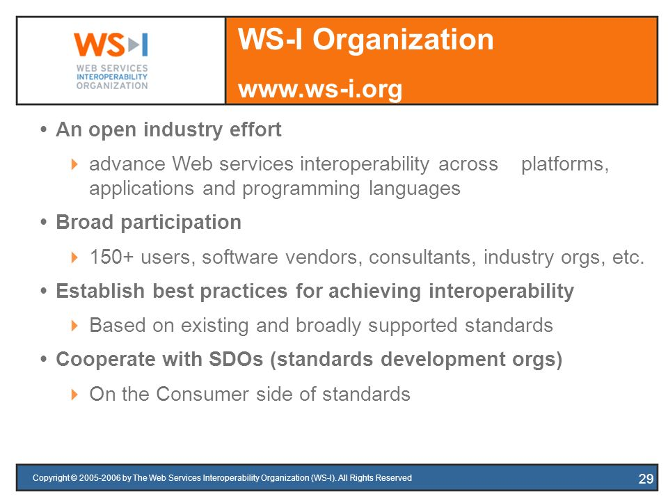 Copyright © 2005-2006 by The Web Services Interoperability Organization (WS-I). All Rights Reserved 29 An open industry effort advance Web services in