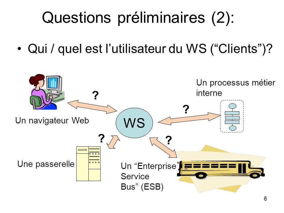 6 Qui / quel est lutilisateur du WS (Clients)? WS Une passerelle Un navigateur Web Un processus métier interne ? ? ? Un Enterprise Service Bus (ESB) ?