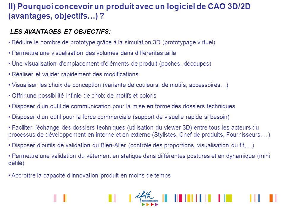 II) Pourquoi concevoir un produit avec un logiciel de CAO 3D/2D (avantages, objectifs…) ? LES AVANTAGES ET OBJECTIFS: Réduire le nombre de prototype g