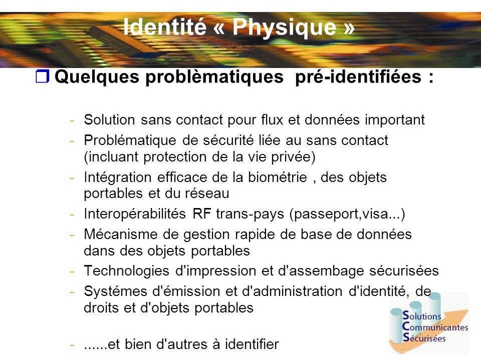 « Identité Logique » Quelques problématiques pre-identifiées : -Intégration «naturelle » d éléments portables,personnels et sécurisés dans les infrastructures Web -Possibilité de développer des Web services dans les objets portables sécurisés -Solution aux problèmes de « Phishing » -DRM -Schéma d identité multi-réseau et multi-devices (ADSL, GSM...) -Intégration d éléments portables dans les shémas d identité INFOCARD, Liberty alliance..