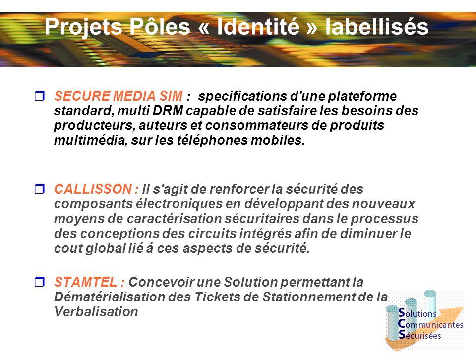 Projets Pôles « Identité » labellisés SECURE MEDIA SIM : specifications d une plateforme standard, multi DRM capable de satisfaire les besoins des producteurs, auteurs et consommateurs de produits multimédia, sur les téléphones mobiles.