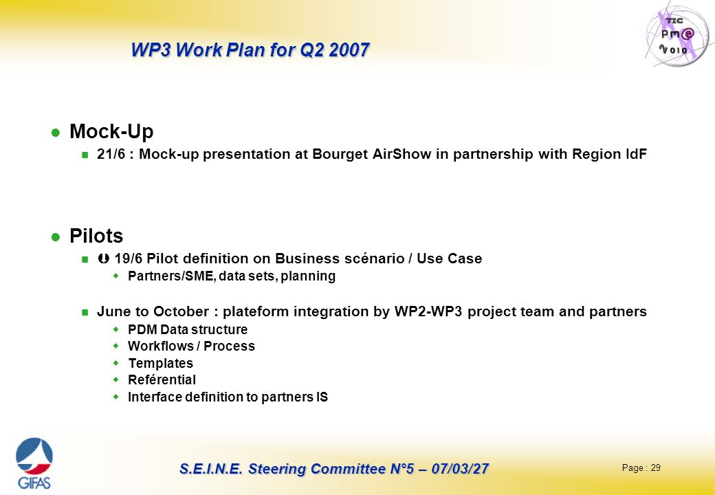 Page : 29 S.E.I.N.E. Steering Committee N°5 – 07/03/27 WP3 Work Plan for Q2 2007 Mock-Up 21/6 : Mock-up presentation at Bourget AirShow in partnership