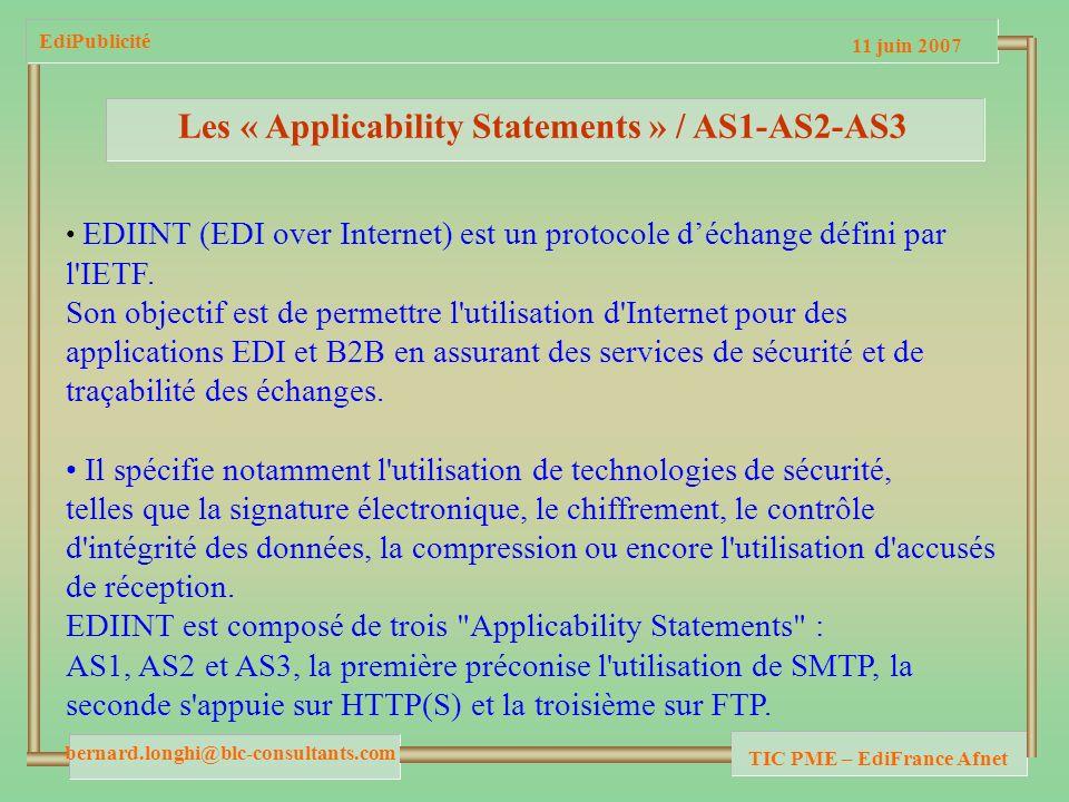 11 juin 2007 bernard.longhi@blc-consultants.com TIC PME – EdiFrance Afnet EdiPublicité Les « Applicability Statements » / AS1-AS2-AS3 EDIINT (EDI over Internet) est un protocole déchange défini par l IETF.
