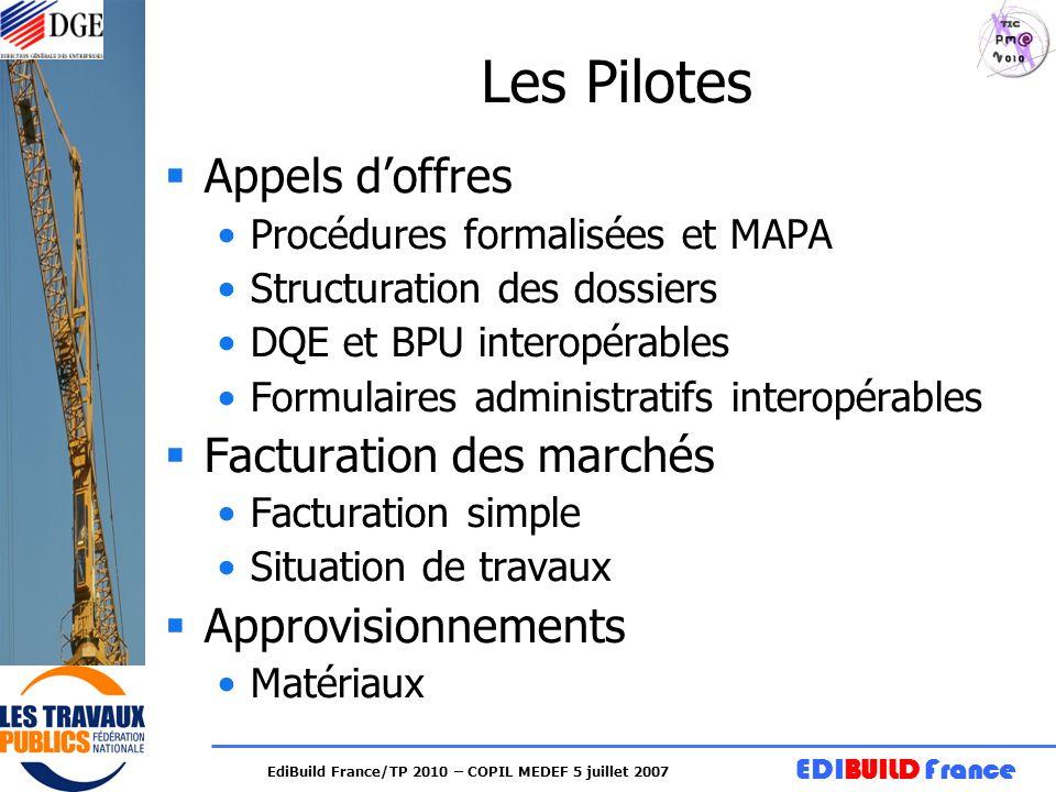 EDIBUILD France EdiBuild France/TP 2010 – COPIL MEDEF 5 juillet 2007 Les Pilotes Appels doffres Procédures formalisées et MAPA Structuration des dossi