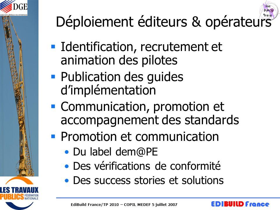 EDIBUILD France EdiBuild France/TP 2010 – COPIL MEDEF 5 juillet 2007 Déploiement éditeurs & opérateurs Identification, recrutement et animation des pi