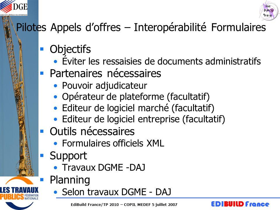 EDIBUILD France EdiBuild France/TP 2010 – COPIL MEDEF 5 juillet 2007 Pilotes Appels doffres – Interopérabilité Formulaires Objectifs Éviter les ressai