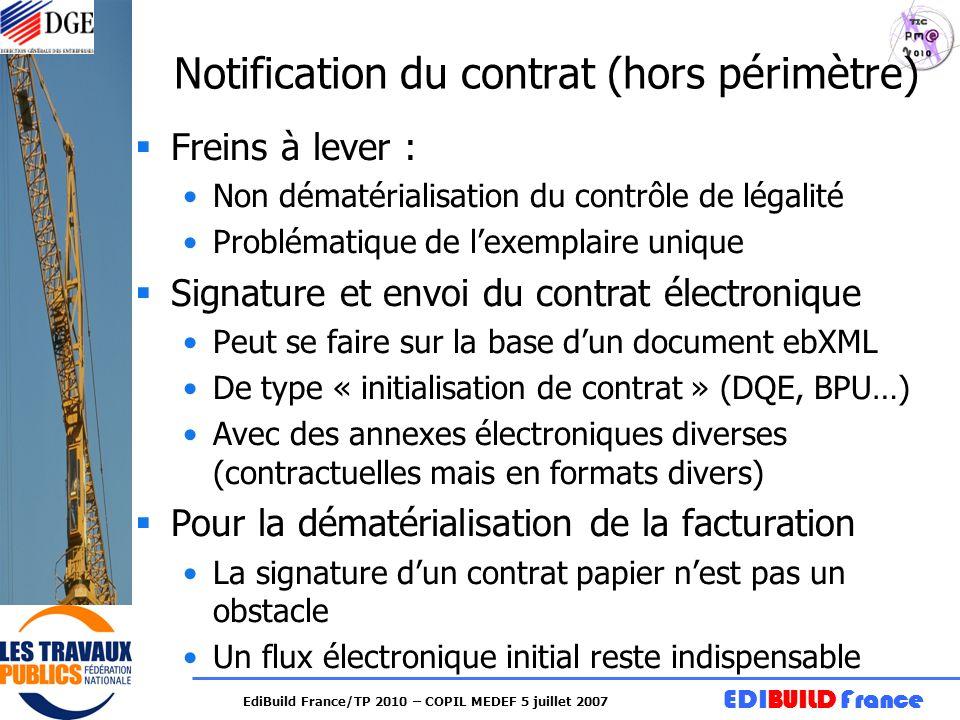 EDIBUILD France EdiBuild France/TP 2010 – COPIL MEDEF 5 juillet 2007 Notification du contrat (hors périmètre) Freins à lever : Non dématérialisation d