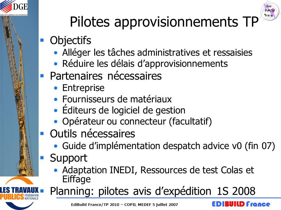 EDIBUILD France EdiBuild France/TP 2010 – COPIL MEDEF 5 juillet 2007 Pilotes approvisionnements TP Objectifs Alléger les tâches administratives et res