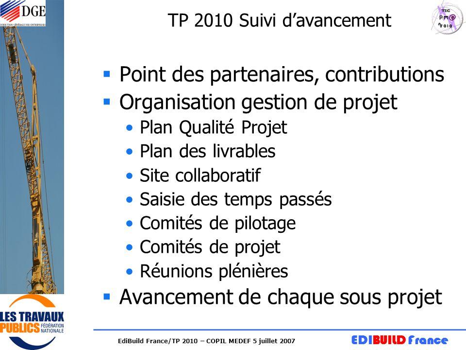 EDIBUILD France EdiBuild France/TP 2010 – COPIL MEDEF 5 juillet 2007 TP 2010 Suivi davancement Point des partenaires, contributions Organisation gesti