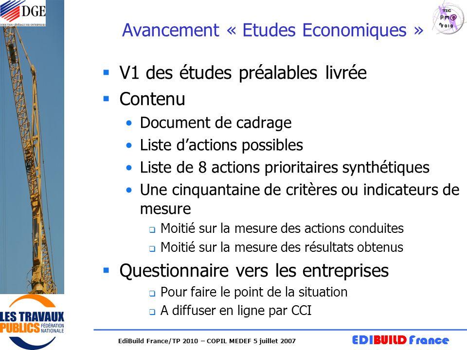 EDIBUILD France EdiBuild France/TP 2010 – COPIL MEDEF 5 juillet 2007 Avancement « Etudes Economiques » V1 des études préalables livrée Contenu Documen