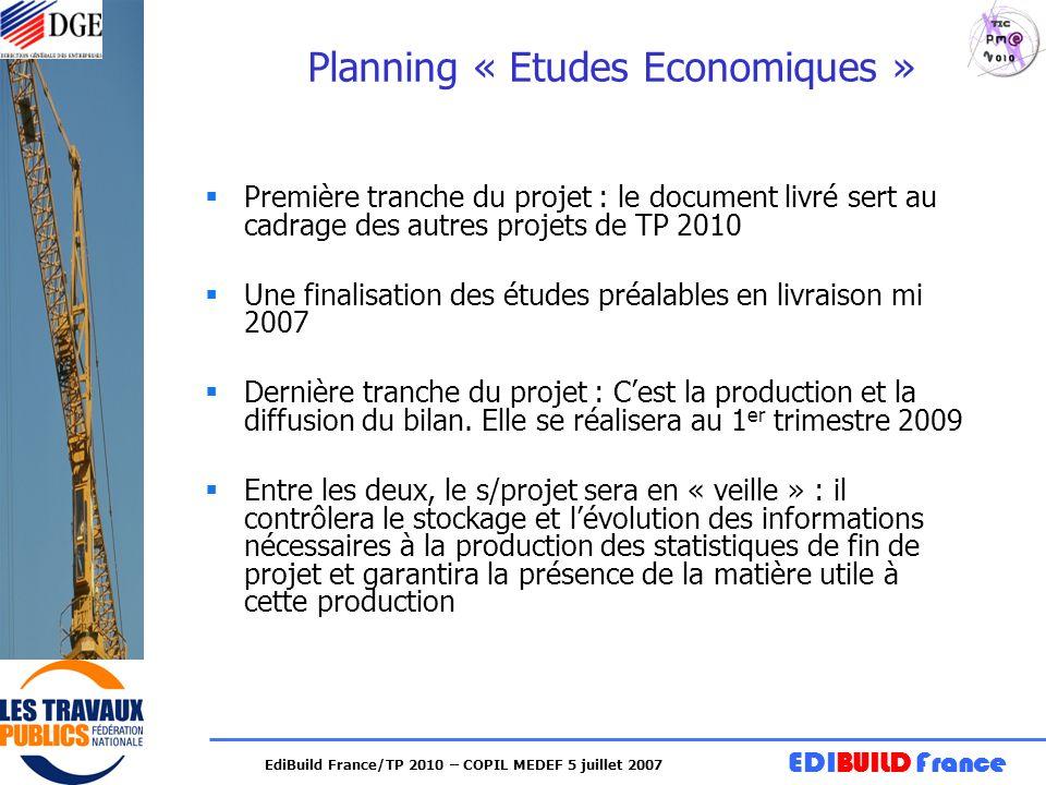 EDIBUILD France EdiBuild France/TP 2010 – COPIL MEDEF 5 juillet 2007 Planning « Etudes Economiques » Première tranche du projet : le document livré se