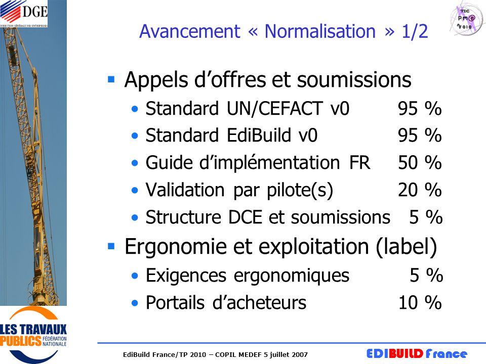 EDIBUILD France EdiBuild France/TP 2010 – COPIL MEDEF 5 juillet 2007 Avancement « Normalisation » 1/2 Appels doffres et soumissions Standard UN/CEFACT