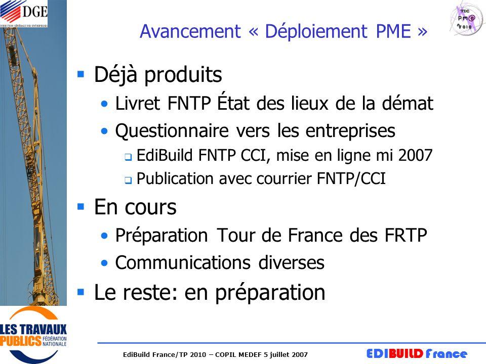 EDIBUILD France EdiBuild France/TP 2010 – COPIL MEDEF 5 juillet 2007 Avancement « Déploiement PME » Déjà produits Livret FNTP État des lieux de la dém