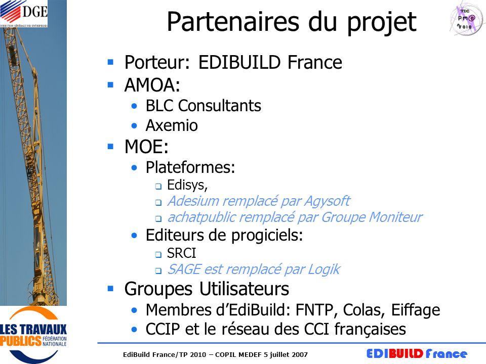 EDIBUILD France EdiBuild France/TP 2010 – COPIL MEDEF 5 juillet 2007 Partenaires du projet Porteur: EDIBUILD France AMOA: BLC Consultants Axemio MOE: